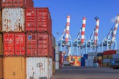 端起有集装箱船的船坞和运输货柜的各种各样的品牌和颜色在一个举行的平台堆积的 免版税图库摄影