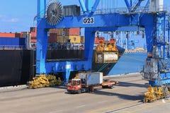 端起有集装箱船的船坞和运输货柜的各种各样的品牌和颜色在一个举行的平台堆积的 免版税库存图片