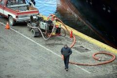 端起蓬塔阿雷纳斯口岸船坞的工作者  免版税库存照片