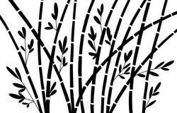 竹剪影森林集合 自然日本,中国 植物与叶子的黑色树 雨林在亚洲 库存例证