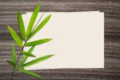 竹叶子和和纸在木背景 库存图片