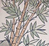 竹国画寺庙墙壁 库存照片