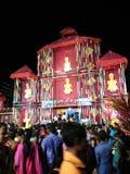 竹子做的Durgapuja pandaal 免版税库存照片