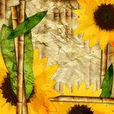 竹子和向日葵 向量例证