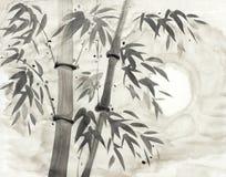 竹子和月亮 向量例证