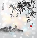 竹子和海岛有树的在雾 库存例证