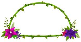 竹子和花框架  向量例证