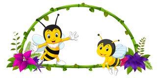 竹子和蜂框架  向量例证