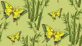 竹子和蝴蝶 向量例证