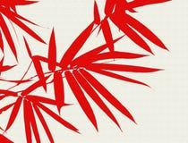 竹子离开红色 免版税库存照片