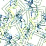 竹子绿色叶子  叶子植物植物园花卉叶子 无缝的背景模式 向量例证