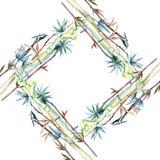 竹子绿色叶子  叶子植物植物园花卉叶子 框架边界装饰品正方形 向量例证