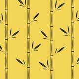 竹子茎与叶子创造性的东方样式黑色传染媒介例证的在黄色背景 皇族释放例证