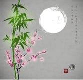 竹子,开花和月亮的佐仓 向量例证