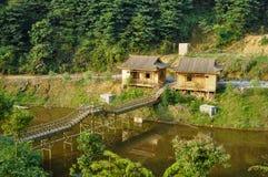 竹小屋和走廊 免版税库存照片