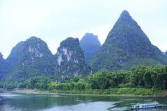 竹木筏在锂河 库存照片