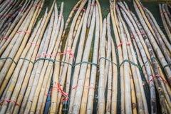 竹材料为关于建筑工作的使用 免版税库存图片
