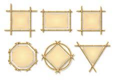 竹框架 中国木棍子签字与空白的纸莎草横幅 老广告牌被隔绝的传染媒介集合 库存例证