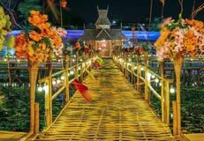 竹桥梁,Rangsit 免版税图库摄影
