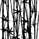竹水彩词根和叶子无缝的样式在白色背景 库存例证