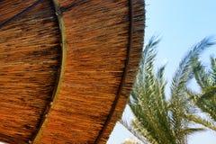 竹沙滩伞背景  热带节假日概念 库存照片