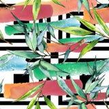 竹绿色叶子 叶子植物植物园花卉叶子 无缝的背景模式 库存图片