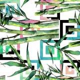 竹绿色叶子 叶子植物植物园花卉叶子 无缝的背景模式 免版税库存图片