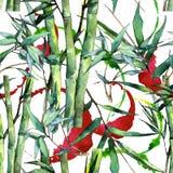 竹绿色叶子 叶子植物植物园花卉叶子 无缝的背景模式 库存照片