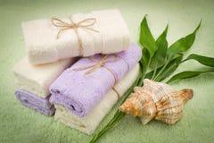 竹软的毛巾 免版税库存图片