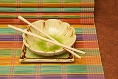 竹餐位餐具 免版税库存照片