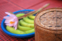 竹黏米饭容器 图库摄影