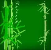 竹sumi-e墨水被绘的卡片 库存图片