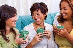 笑不同的小组的妇女谈话和 免版税图库摄影