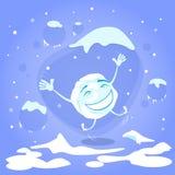 笑动画片的雪球愉快的激动的跃迁 免版税图库摄影