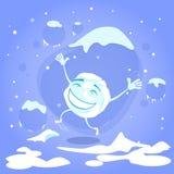 笑动画片的雪球愉快的激动的跃迁 图库摄影