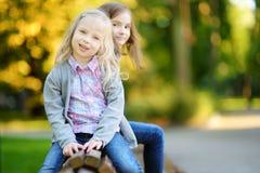 笑和拥抱在夏日的两个可爱的妹在公园 免版税图库摄影