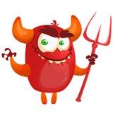 笑和拿着三叉戟的恶魔 与简单的梯度的向量例证 免版税库存图片