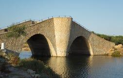 笑声`小,波浪和陡峭的老石桥梁的`桥梁在地中海海岸水方式的 库存照片