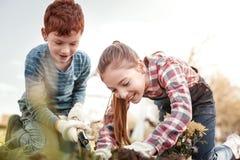 笑微笑的孩子,当看见蠕虫在土地时 免版税库存图片