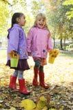 笑的小女孩获得乐趣在秋天公园 免版税库存图片