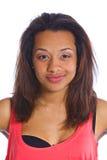 年轻笑的混血儿女孩 免版税库存图片