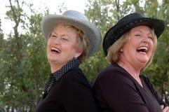 笑的老妇人 免版税库存照片