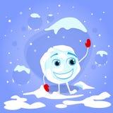 笑红色手套动画片的雪球滑稽 免版税库存图片