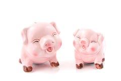 笑贪心粉红色二的银行 图库摄影