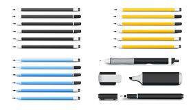 笔、铅笔、标志和Textliner 公司本体大模型的多数普遍的书面材料 也corel凹道例证向量 库存图片
