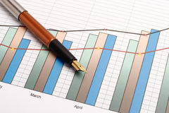 笔和图表 免版税库存照片