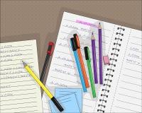 笔和铅笔在笔记本在线,传染媒介例证 库存照片