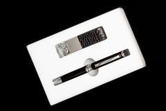 笔和keychain 免版税库存照片