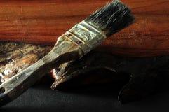 画笔油漆使用了 免版税库存图片