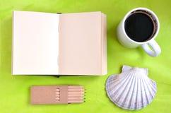 笔记本、壳、在绿色背景的咖啡和柔和的淡色彩 免版税库存照片